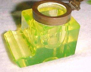 Vaseline Cut Glass Inkwell - Glass