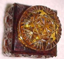 Old Amber 2 piece Inkwell - Glass