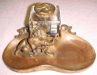 Stag Deer Figural Inkwell - Metalware