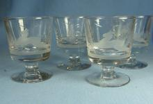 Elegant Etched DEER Stemware COCKTAIL or WHISKEY SOUR Glass Group