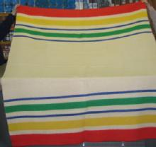 Vintage 100% Wool HUDSON BAY type Camp Lodge Cabin Blanket 75 x 88