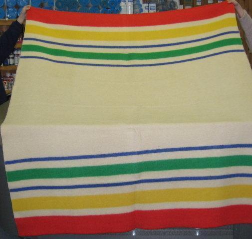 Vintage 100% Wool HUDSON BAY type Camp Lodge Cabin Blanket 75 x 88