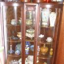 Double Curved Glass Oak CORNER China Cabinet with Griffin Gallery & Claw Feet - Victorian Furniture