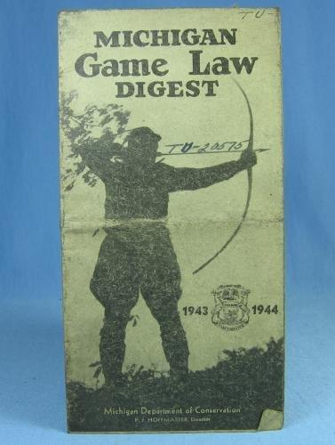 Antique 1943 1944 Michigan GAME LAW DIGEST Hunt Manual - sporting