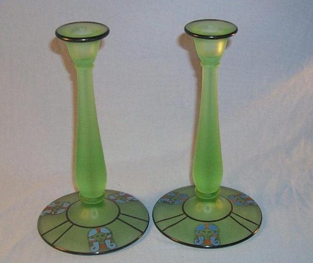 Set Satin Green EGYPTIAN Motif Glass Candlesticks