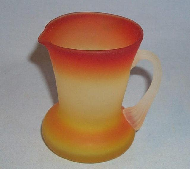 Satin Finish PEACHBLOW Glass Cream Pitcher