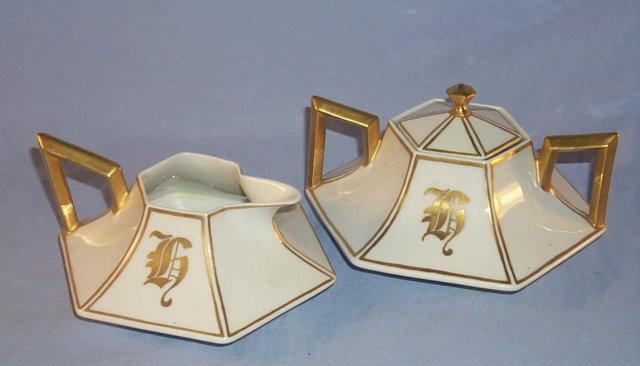 LIMOGES Hexagon Shaped Porcelain Creamer and Sugar Set