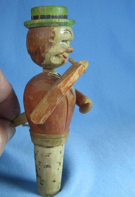 Antique ANRI Double Mechanial Bottle STOPPER Corker - Carved Wood Primitive