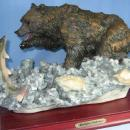 Brown BEAR & Salmon  FISH Sculpture - Montefiori Collection Limited Edition for your Cabin, Lodge, Sporting Hunting Den