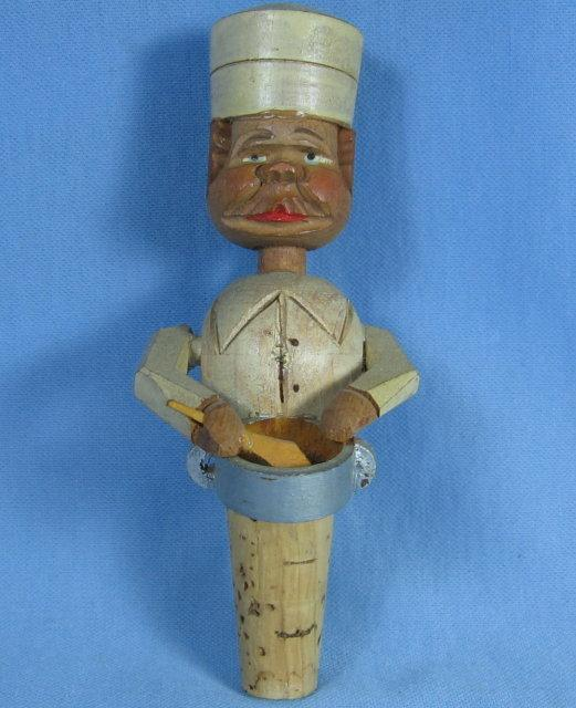 Antique ANRI Mechanical Bottle Stopper PASTRY CHEF - Carved Woodenware