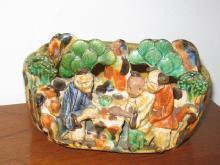 Oriental BANKO Bowl Figural Japanese Pottery Dish Planter