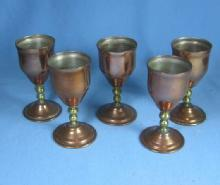 Set  Copper & Brass Liquor or Whiskey Glass Group