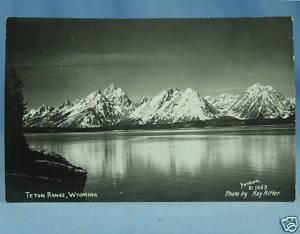 TETON RANGE Wyoming Ray Ritter 1939 RPPC Postcard