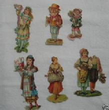 Victorian Antique DIE CUT 6pc Group Scrap Scrapbook