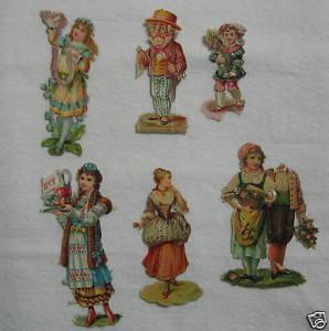 Victorian Antique DIE CUT 6pc Group Scrap Scrapbook