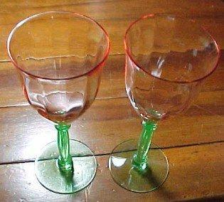 Cambridge Vaseline  4 Footed Water Glasses - Glass