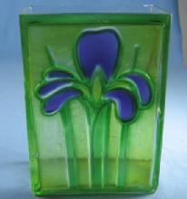 IRIS Flower Vase  Vintage Molded & Stained Glass