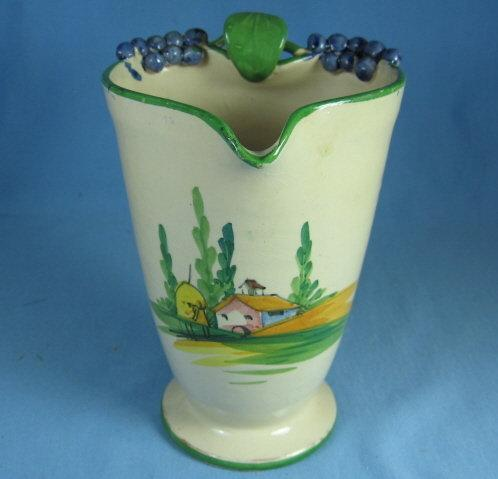 Cottageware MAJOLICA Pottery Pitcher - Figural Vineyard GRAPE