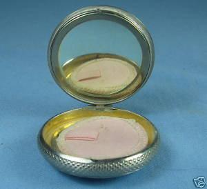 Hand Painted Enamel Guilloche Compact ~  Antique Ladies Accessory