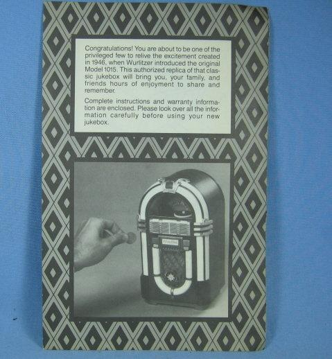 Leadworks WURLITZER Jukebox Tape Player Still Bank INSTRUCTION