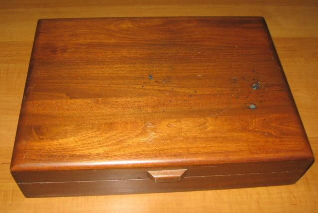 Sterling Silverplate FLATWARE BOX - Vintage Wooden