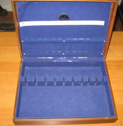 Sterling Silverplate FLATWARE BOX - Vintage Wooden