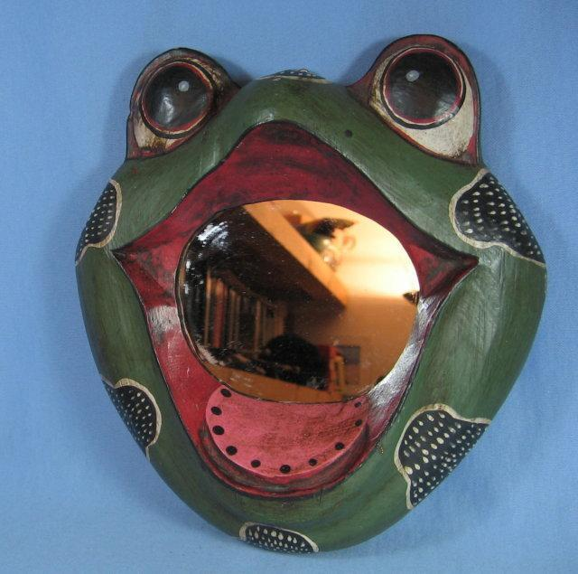 Folk Art Happy FROG Face Hanging MIRROR