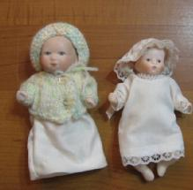 Miniature Porcelain Doll Group - Vintage Bisque Toy