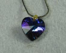 Tanzanite HEART Pendant Necklace  - Vintage Estate Costume Jewelry