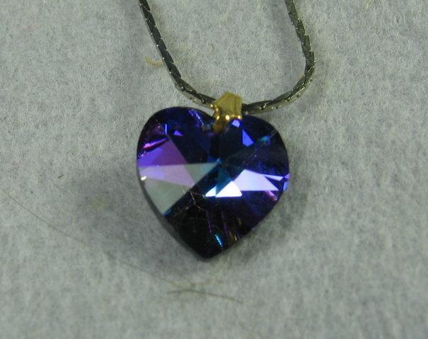 Tanzanite HEART Pendant Necklace  - Vintage Estate Costume Jewelry