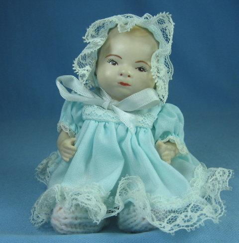 Miniature Porcelain DOLL - Jointed Toy