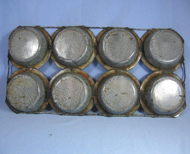 Graniteware MUFFIN TIN - Rare unusual style- antique metalware