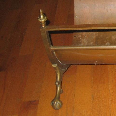 Ball & Claw Foot Brass LOG HOLDER - Antique metalware