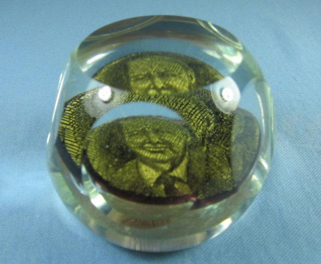 FAMOUS FACE Paperweight -  Antique Faceted Crystal Glass