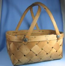 Split Ash Basket Woven -  Antique Dbl Bent Oak Handle