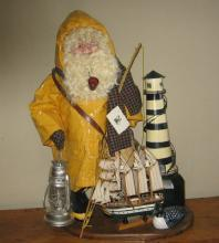 Old FISHERMAN of the North - Decorative COLLAGE of Fishing Pole Creel Lighthouse Loon/Duck Decoy Lantern Model Ship - Misc Collectible