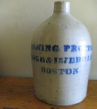 Saltglaze Blue ADVERTISING 3 gallon Jug - THE CUSHING PROCESS CO. BOSTON - Antique stoneware pottery