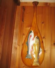 Carved WOOD Fish DECOY on CANOE PADDLE by Carl Christensen - Michigan Master Carver - sporting