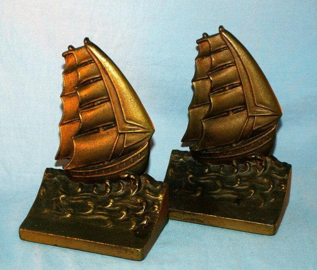 Bradley & Hubbard SAILING SHIP Cast Iron Bookends - Metalware