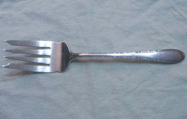 Gorham INVITATION or STEGOR Silverplate MEAT FORK 1940