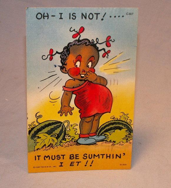 Black Girl in Watermelon Patch Postcard - Ethnographic