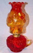 Amberina Moon & Stars Glass Oil Lamp - Fine Art & Lamps