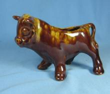 Yellow ware COW Planter - Vintage Pottery Porcelain