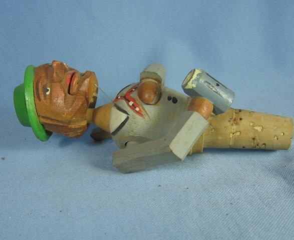Anri Mechanical  MAN Corker Bottle Stopper - Antique Carved Wood  Folk Art