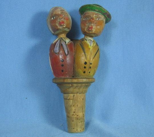 Anri Mechanical  MAN & WOMAN KISSERS Corker Bottle Stopper - Antique Carved Wood  Folk Art