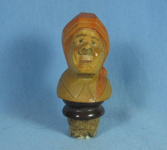 Anri type WOMAN Corker Bottle Stopper - Antique Carved Wood  Folk Art