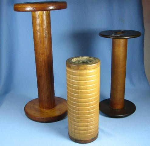 Thread SPOOL Group - Antique Wooden Textile Thread spools