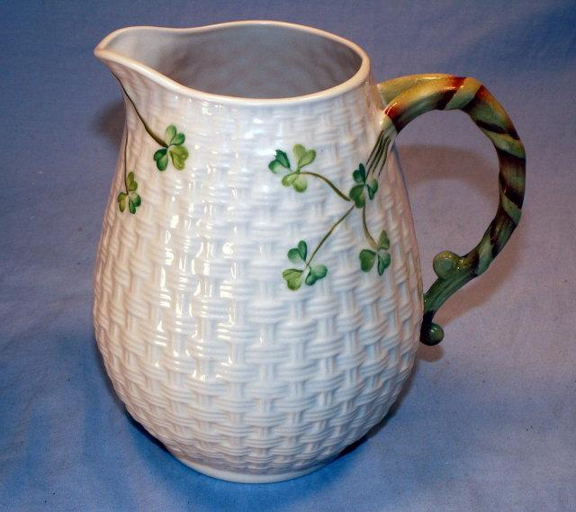 IRISH BELLEEK Shamrock Design Porcelain Milk Pitcher