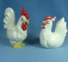 KREISS Chicken ROOSTER & HEN  pr -  Vintage Pottery Salt & Pepper SHAKERS