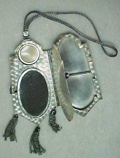 Old Sterling Purse with Amethyst Stone - Silver